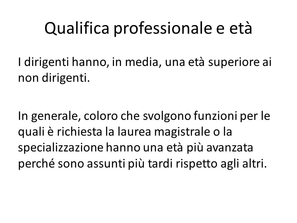 Qualifica professionale e età
