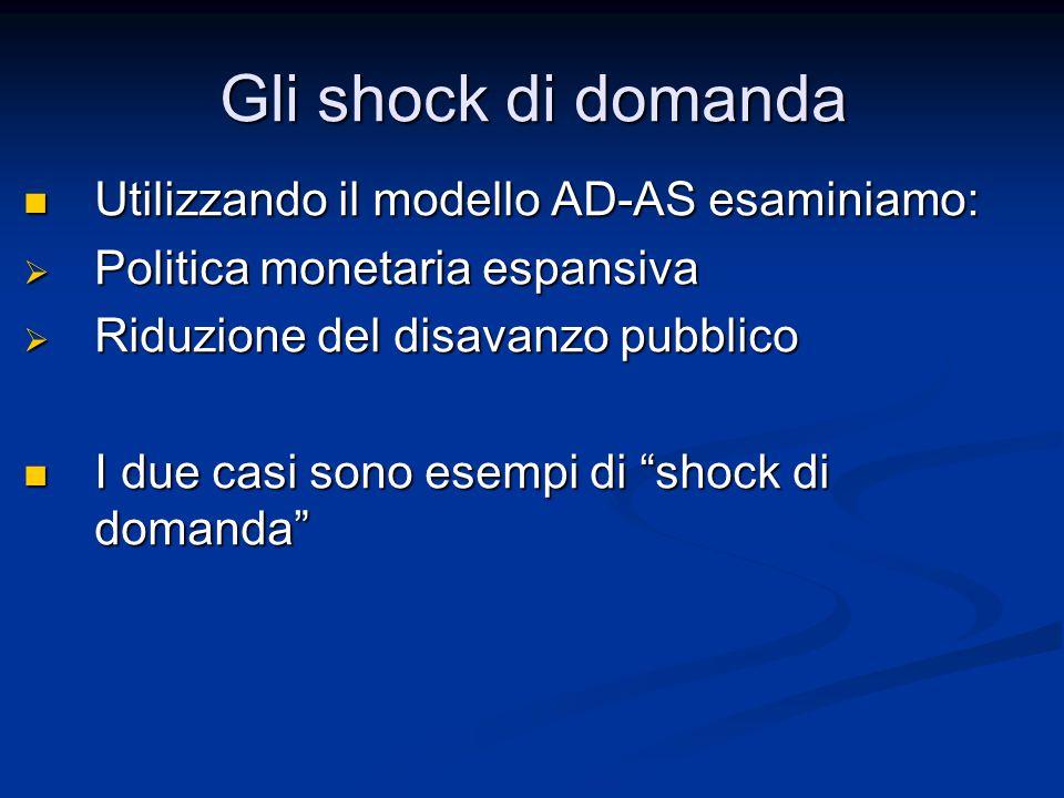 Gli shock di domanda Utilizzando il modello AD-AS esaminiamo: