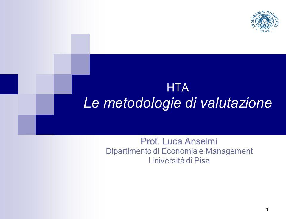 HTA Le metodologie di valutazione