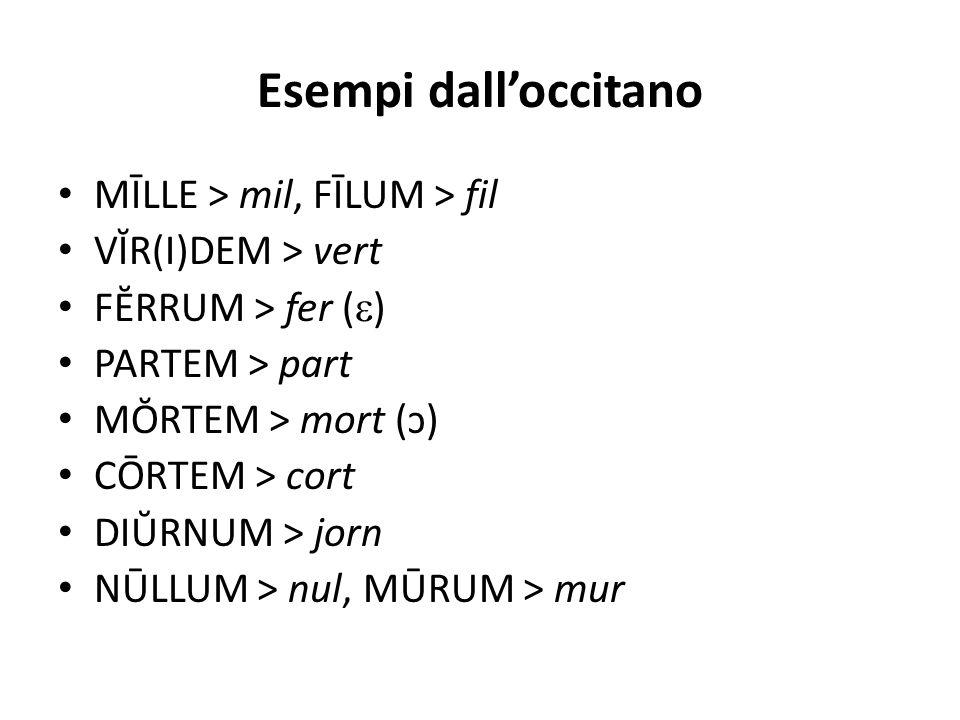 Esempi dall'occitano MĪLLE > mil, FĪLUM > fil