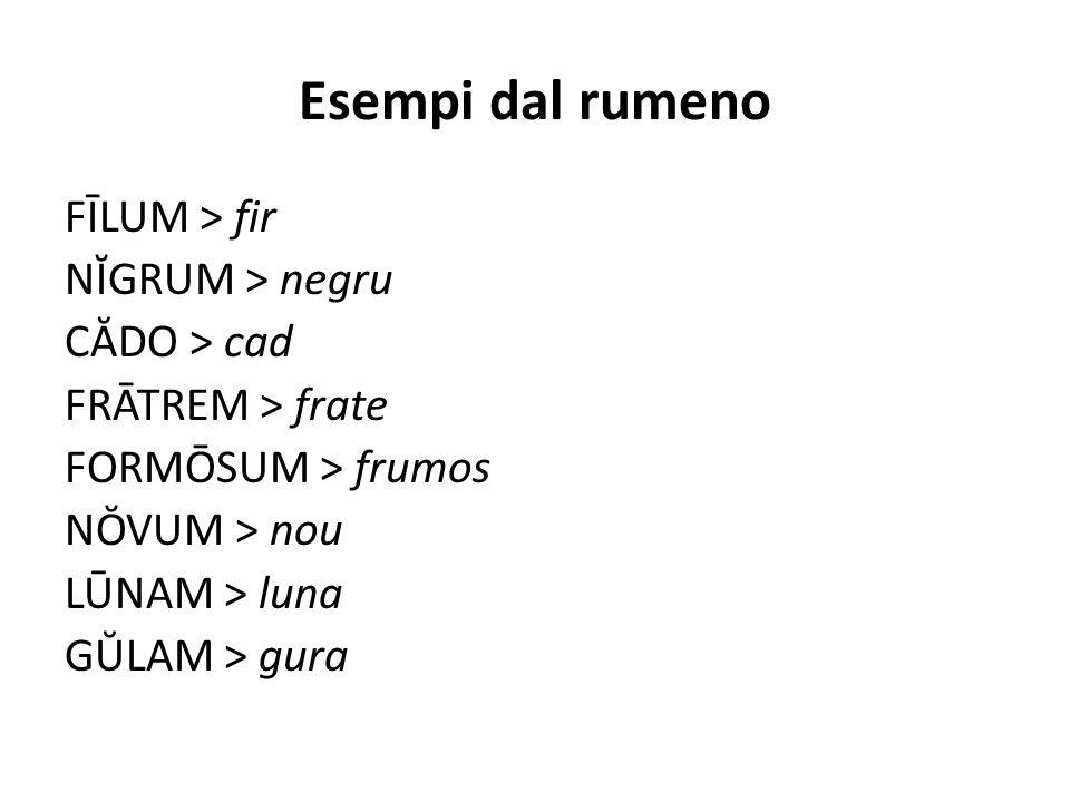 Esempi dal rumeno FĪLUM > fir NĬGRUM > negru CĂDO > cad FRĀTREM > frate FORMŌSUM > frumos NŎVUM > nou LŪNAM > luna GŬLAM > gura