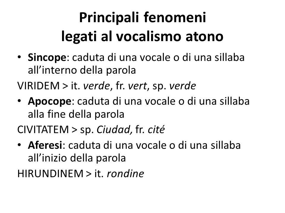 Principali fenomeni legati al vocalismo atono