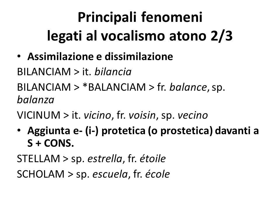 Principali fenomeni legati al vocalismo atono 2/3