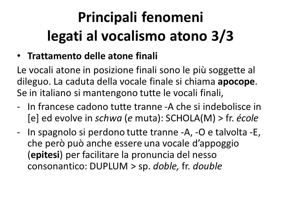 Principali fenomeni legati al vocalismo atono 3/3