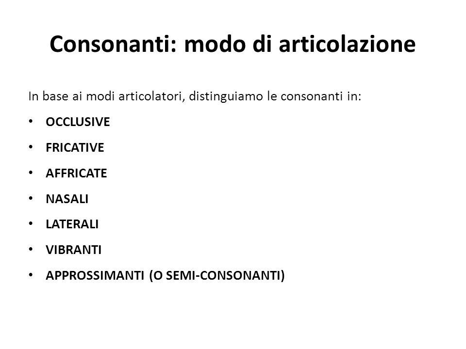 Consonanti: modo di articolazione