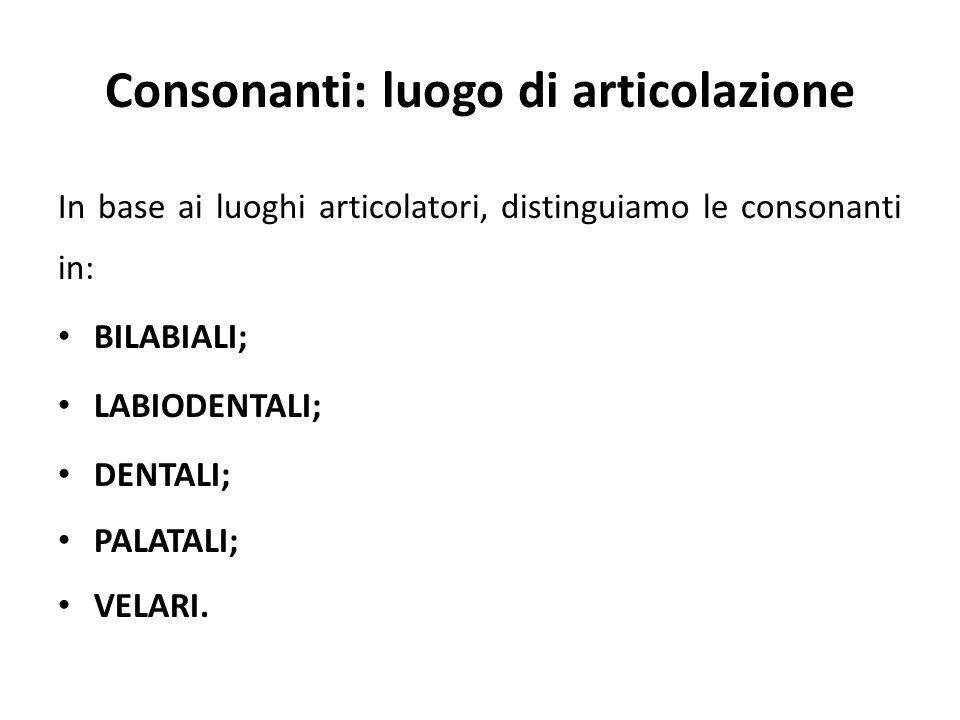 Consonanti: luogo di articolazione
