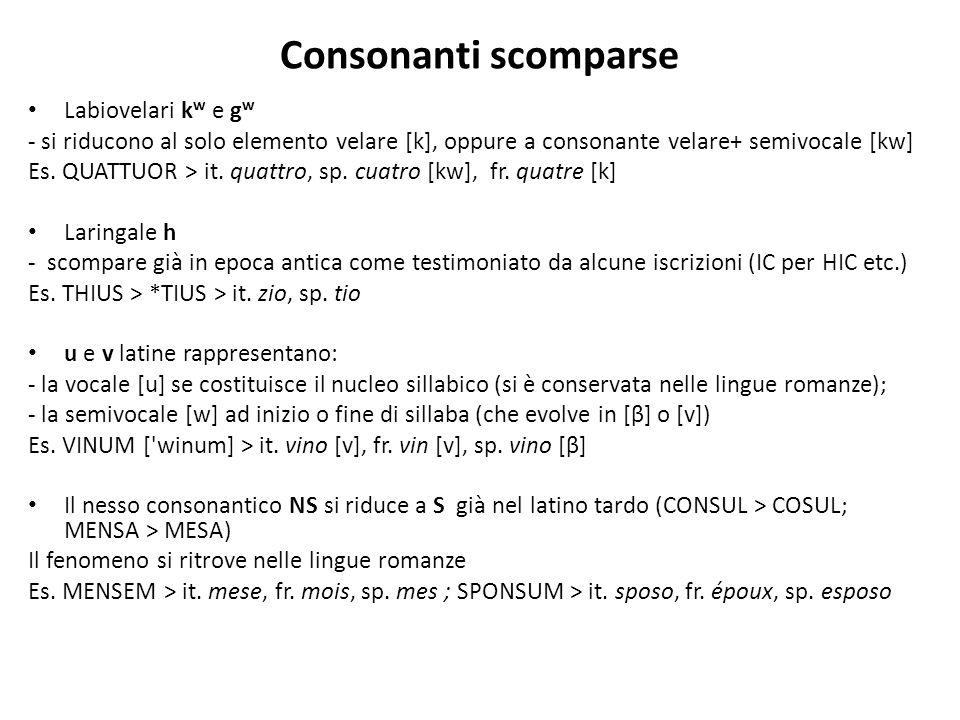 Consonanti scomparse Labiovelari kw e gw