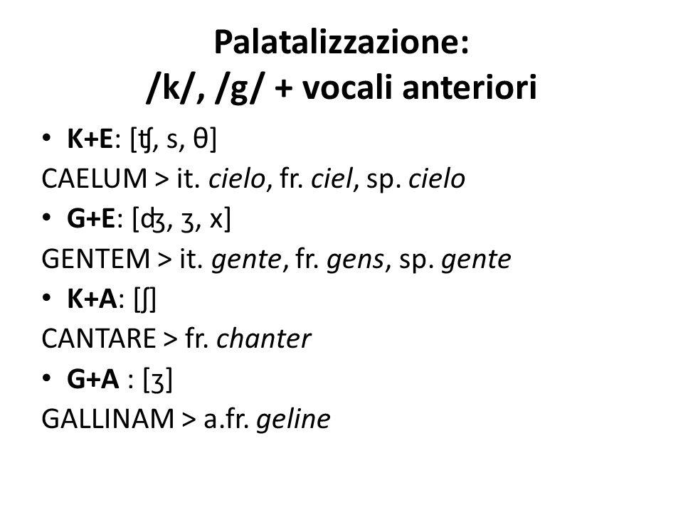 Palatalizzazione: /k/, /g/ + vocali anteriori