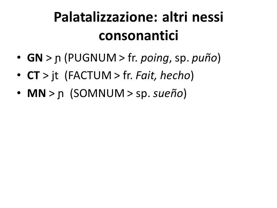 Palatalizzazione: altri nessi consonantici