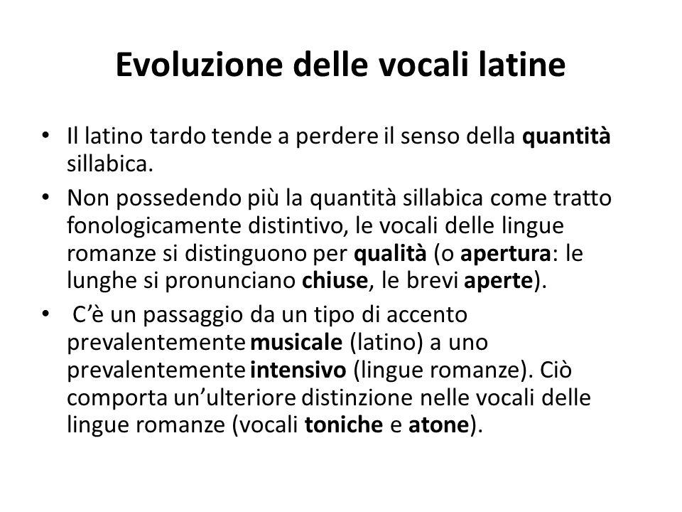 Evoluzione delle vocali latine