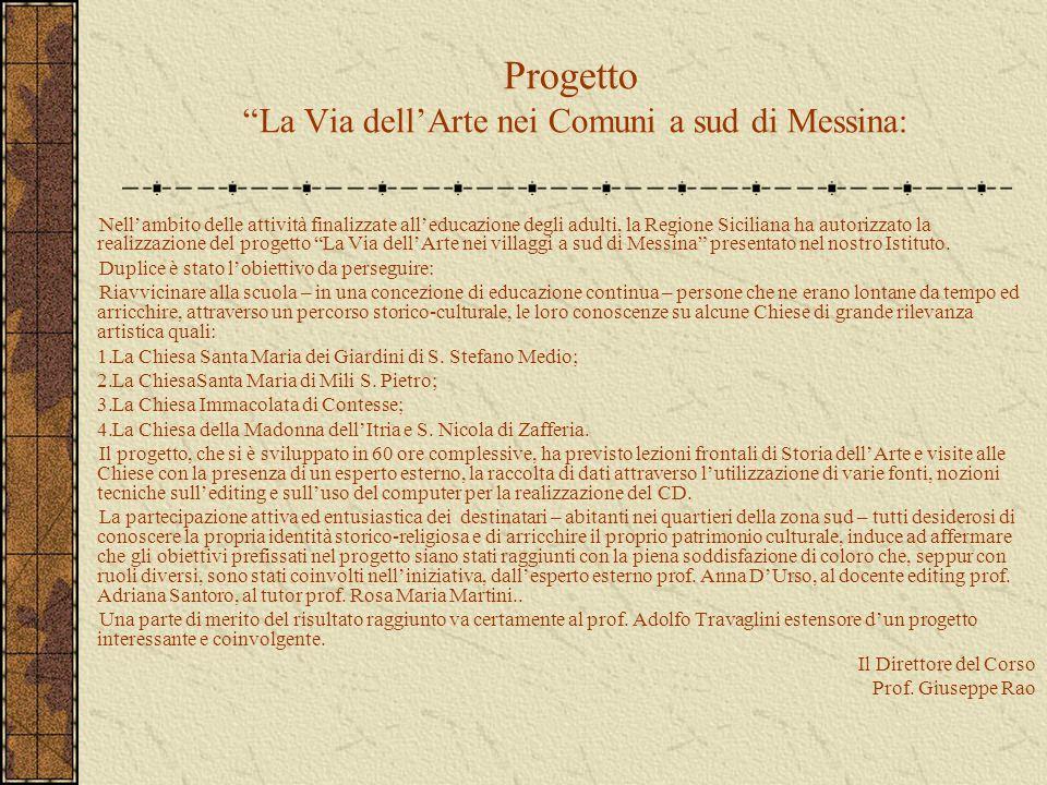 Progetto La Via dell'Arte nei Comuni a sud di Messina: