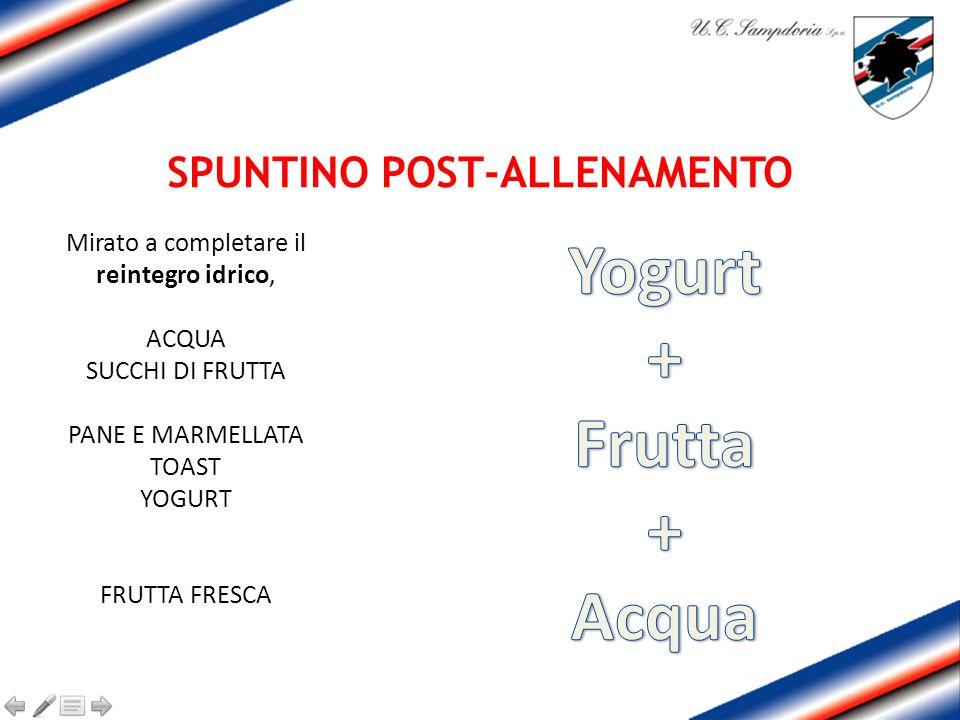 SPUNTINO POST-ALLENAMENTO