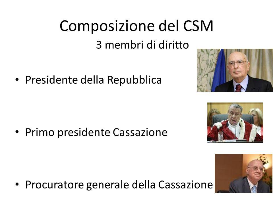 Composizione del CSM 3 membri di diritto Presidente della Repubblica