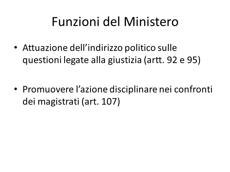 Funzioni del Ministero