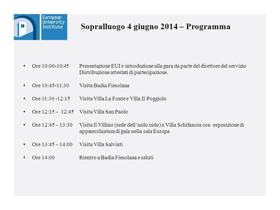 Sopralluogo 4 giugno 2014 – Programma