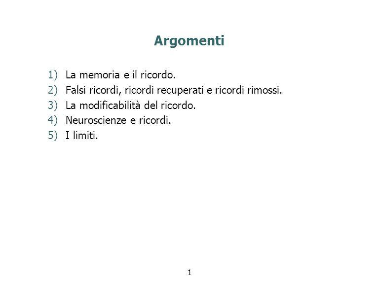 Argomenti La memoria e il ricordo.