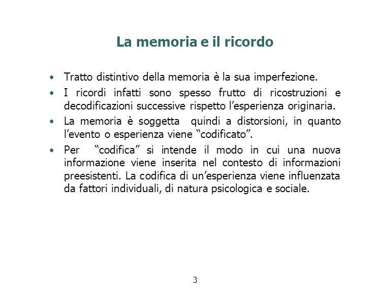 La memoria e il ricordo Tratto distintivo della memoria è la sua imperfezione.