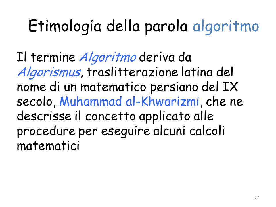 Etimologia della parola algoritmo