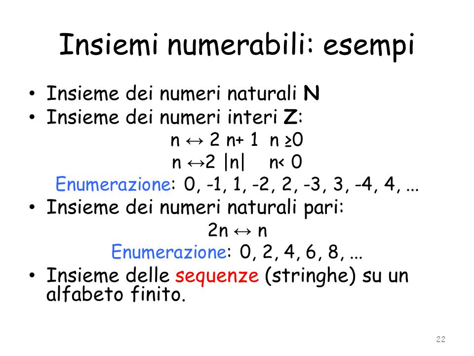 Insiemi numerabili: esempi