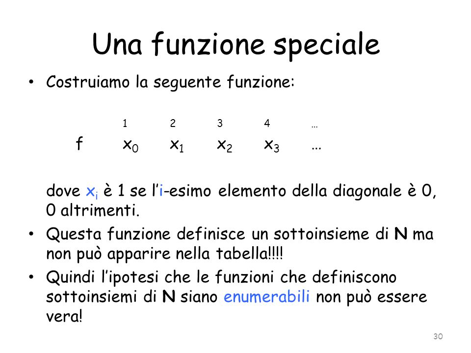 Una funzione speciale Costruiamo la seguente funzione: f x0 x1 x2 x3 …