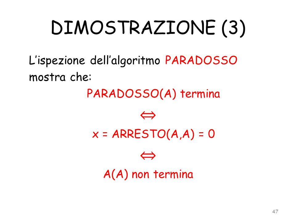DIMOSTRAZIONE (3) ⇔ L'ispezione dell'algoritmo PARADOSSO mostra che: