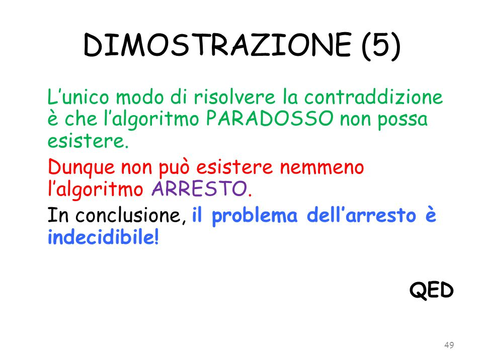 DIMOSTRAZIONE (5) Dunque non può esistere nemmeno l'algoritmo ARRESTO.