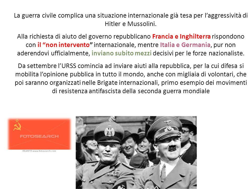 La guerra civile complica una situazione internazionale già tesa per l'aggressività di Hitler e Mussolini.