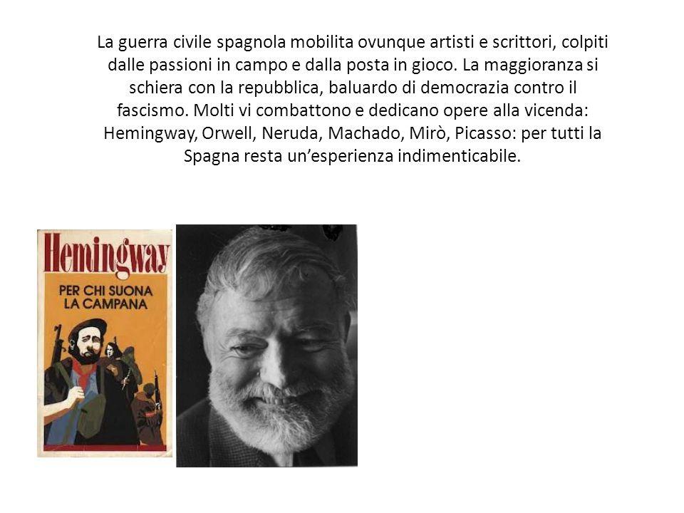 La guerra civile spagnola mobilita ovunque artisti e scrittori, colpiti dalle passioni in campo e dalla posta in gioco.