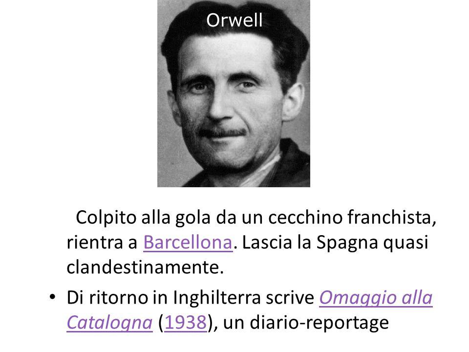 Orwell Colpito alla gola da un cecchino franchista, rientra a Barcellona. Lascia la Spagna quasi clandestinamente.