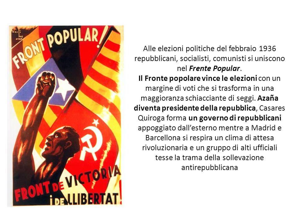 Alle elezioni politiche del febbraio 1936 repubblicani, socialisti, comunisti si uniscono nel Frente Popular.