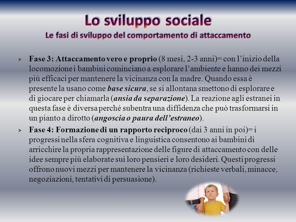 Lo sviluppo sociale Le fasi di sviluppo del comportamento di attaccamento