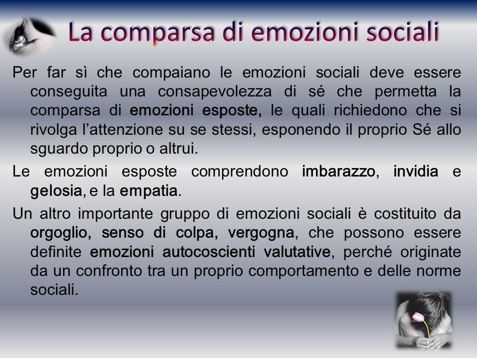 La comparsa di emozioni sociali