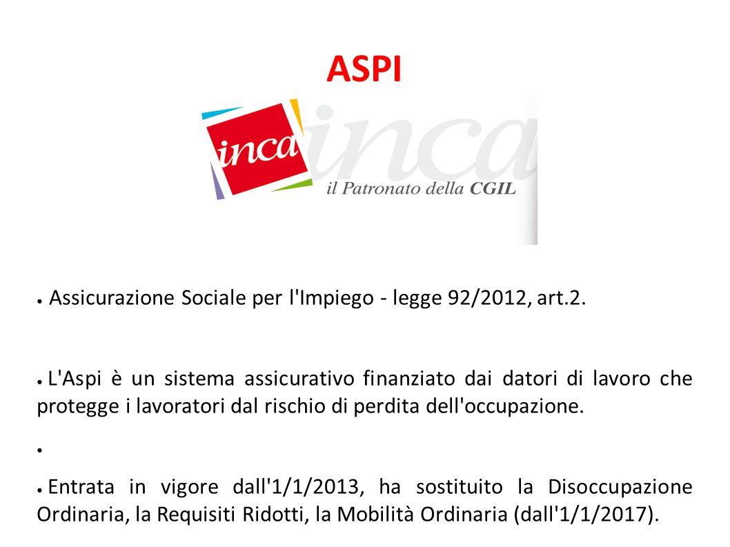 ASPI Assicurazione Sociale per l Impiego - legge 92/2012, art.2.