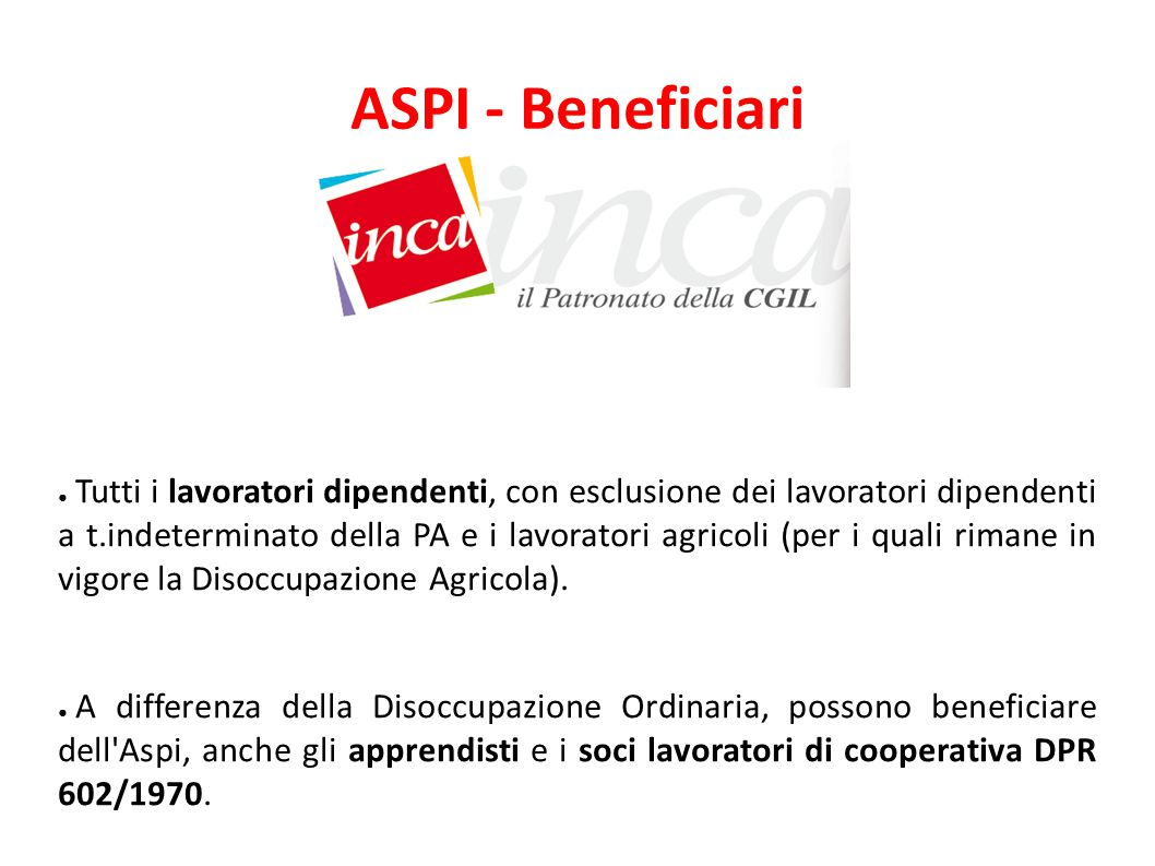 ASPI - Beneficiari