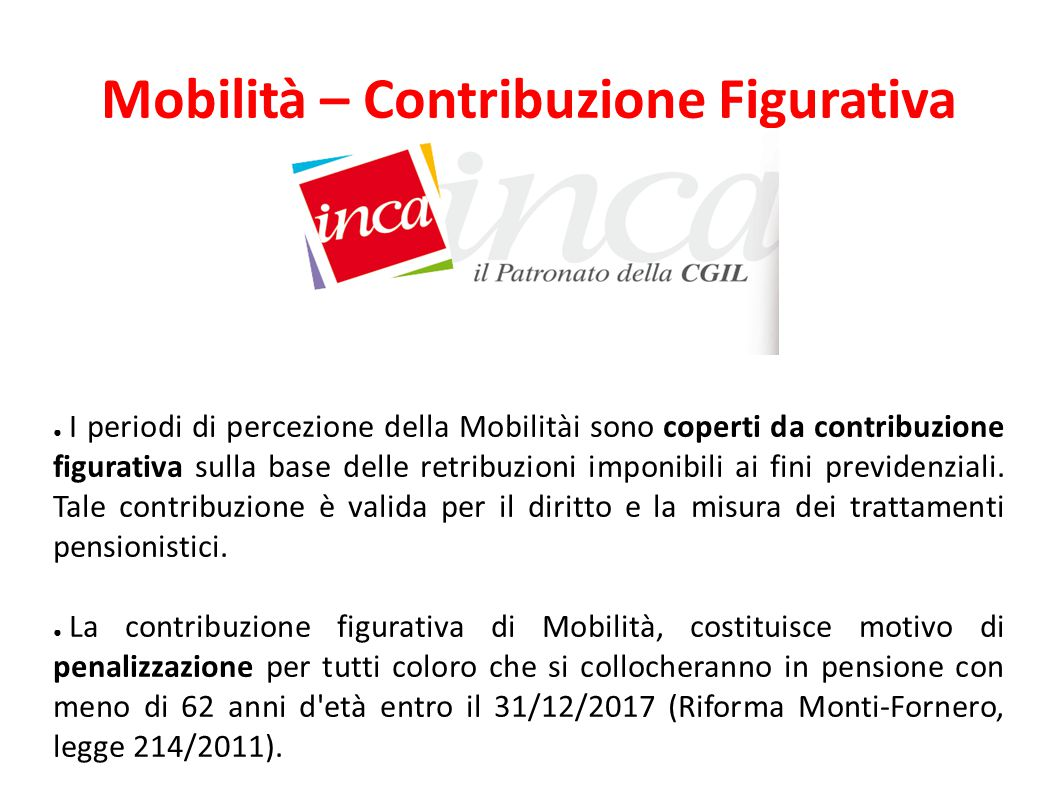 Mobilità – Contribuzione Figurativa