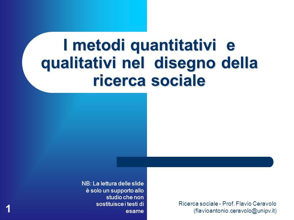 I metodi quantitativi e qualitativi nel disegno della ricerca sociale