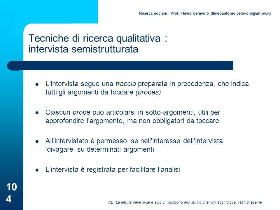 Tecniche di ricerca qualitativa : intervista semistrutturata
