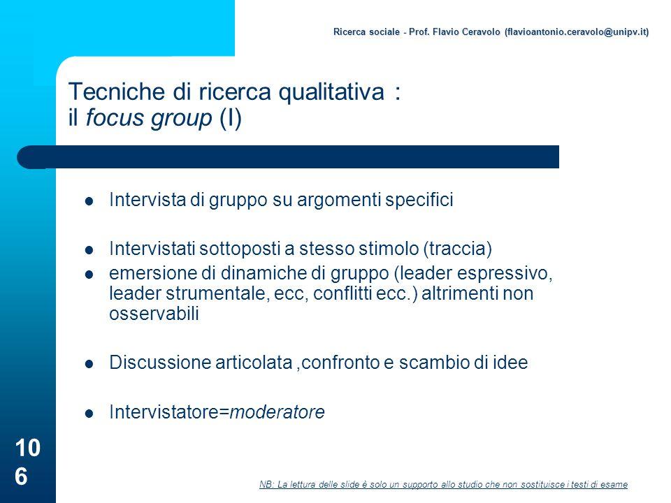Tecniche di ricerca qualitativa : il focus group (I)