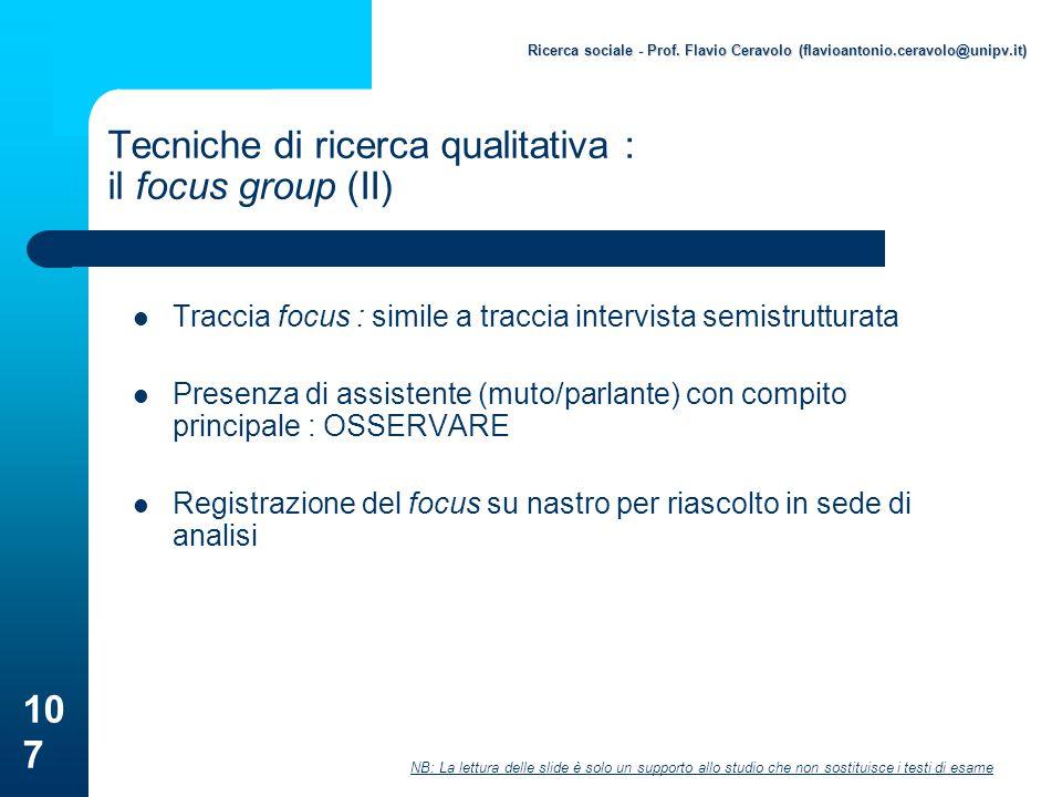 Tecniche di ricerca qualitativa : il focus group (II)