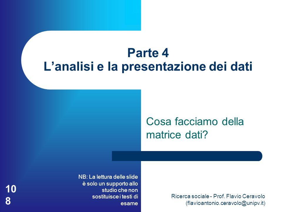 Parte 4 L'analisi e la presentazione dei dati