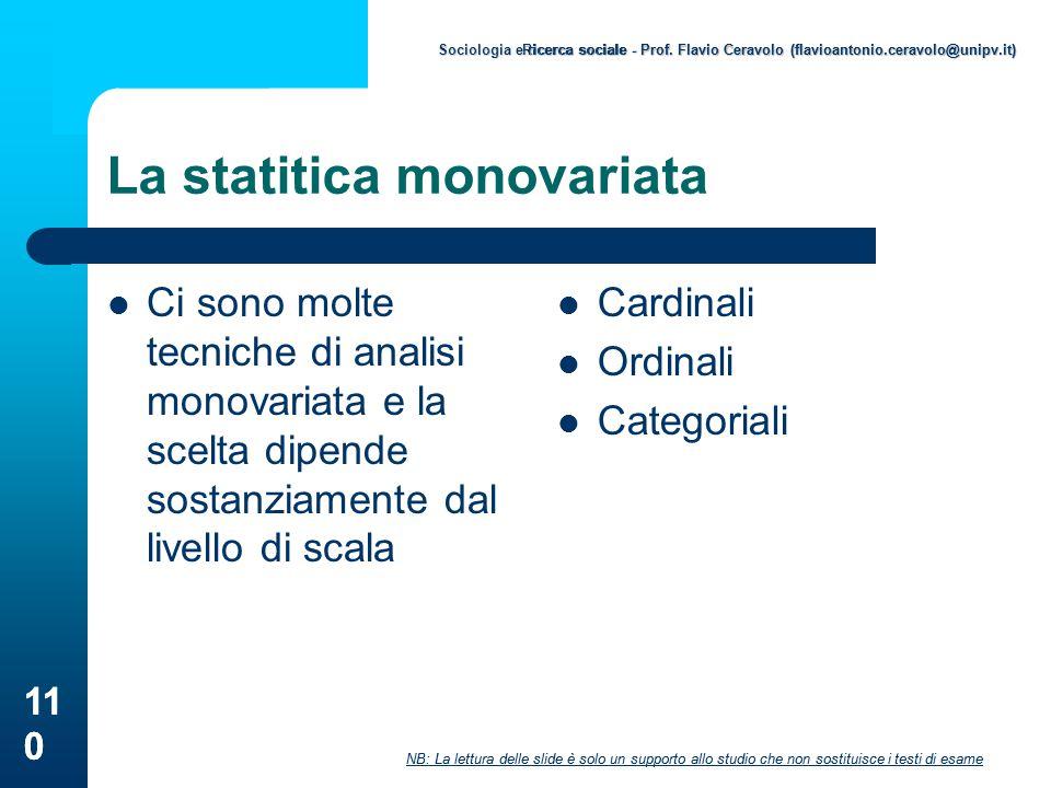 La statitica monovariata
