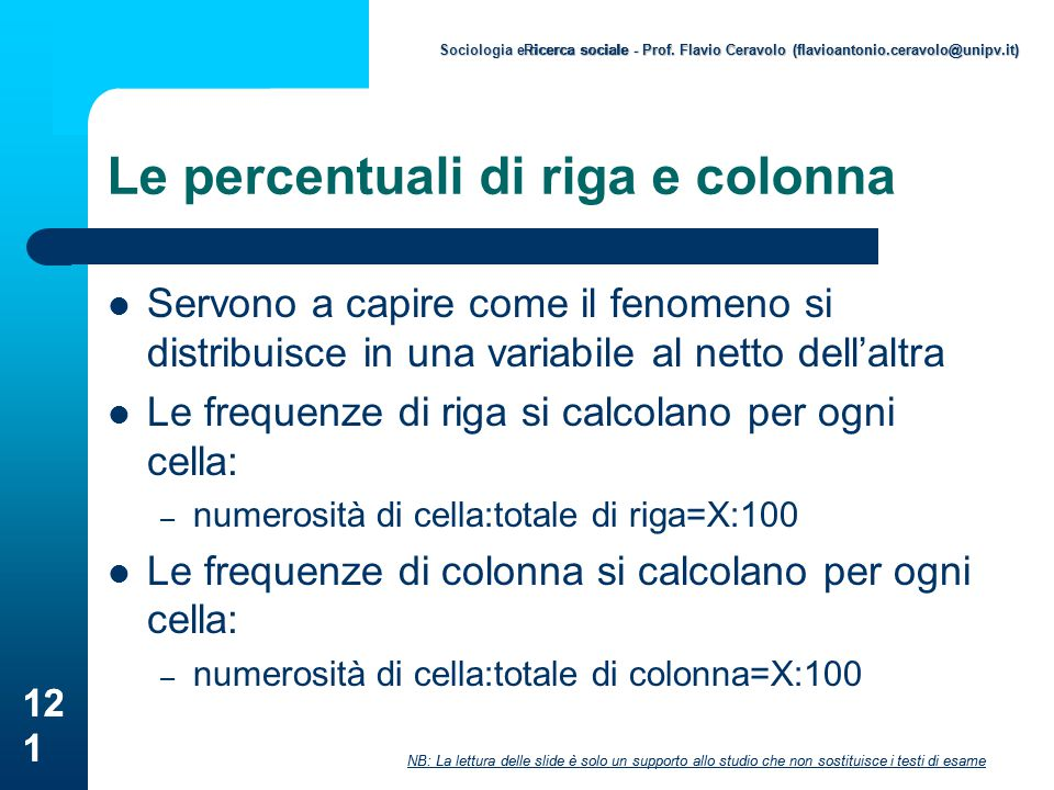 Le percentuali di riga e colonna