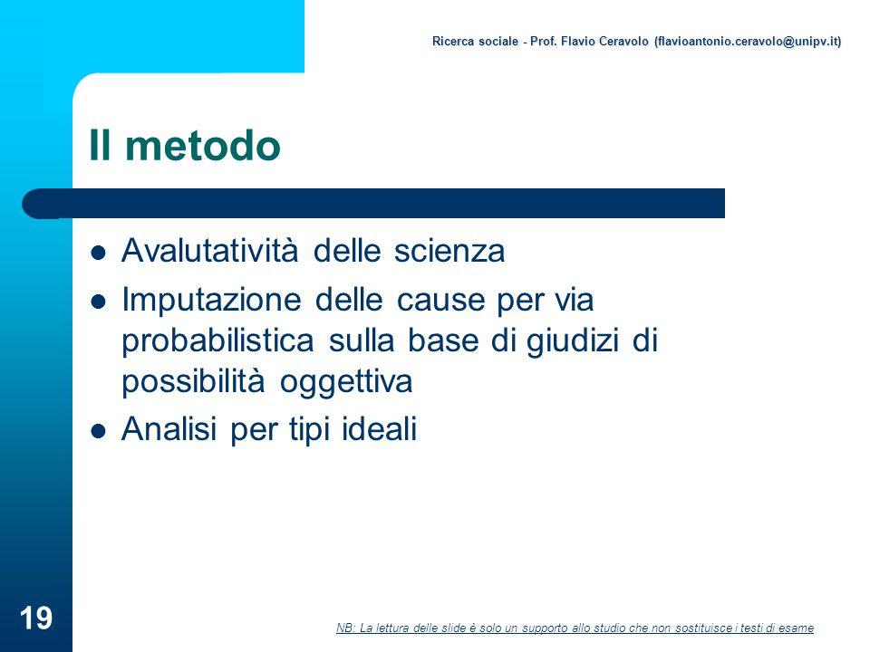 Il metodo Avalutatività delle scienza