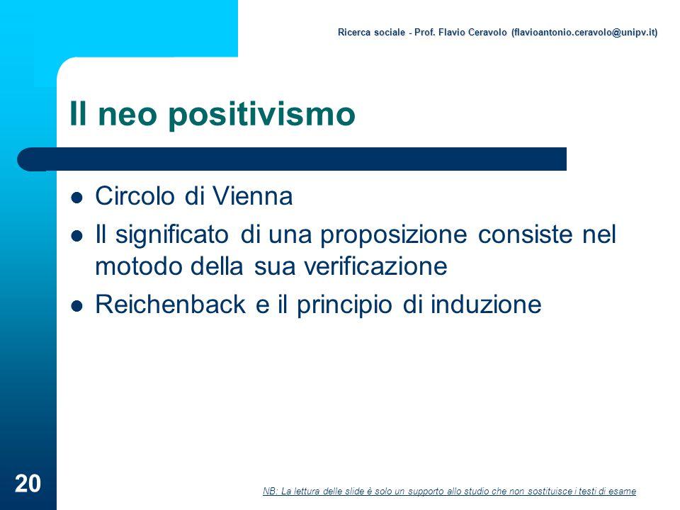Il neo positivismo Circolo di Vienna