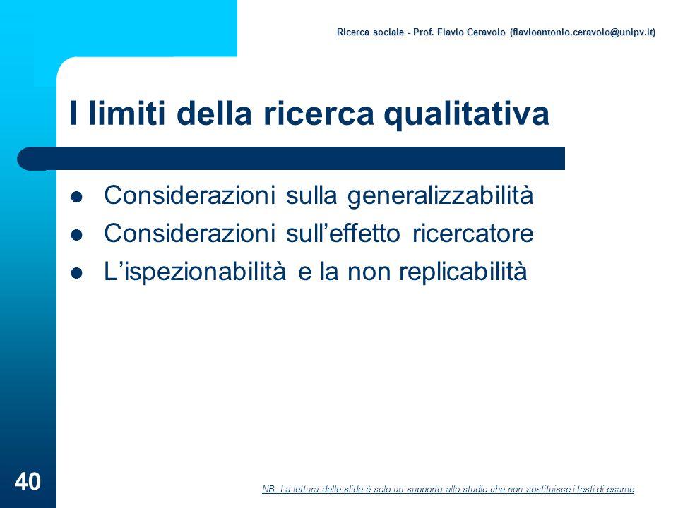 I limiti della ricerca qualitativa