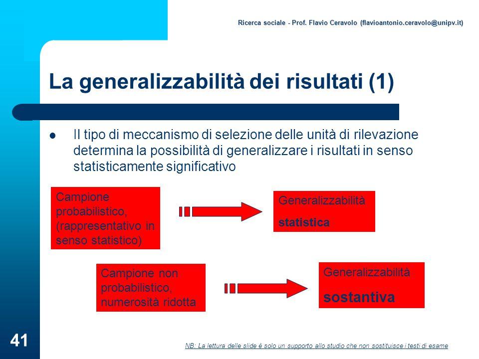 La generalizzabilità dei risultati (1)