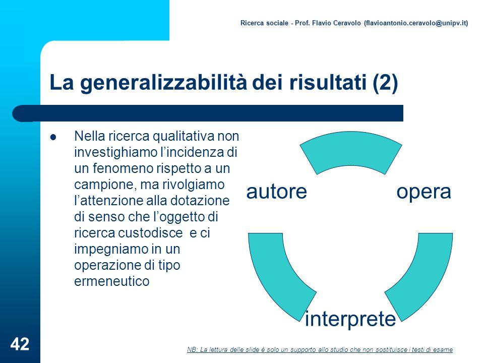 La generalizzabilità dei risultati (2)