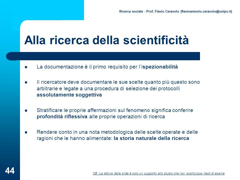 Alla ricerca della scientificità
