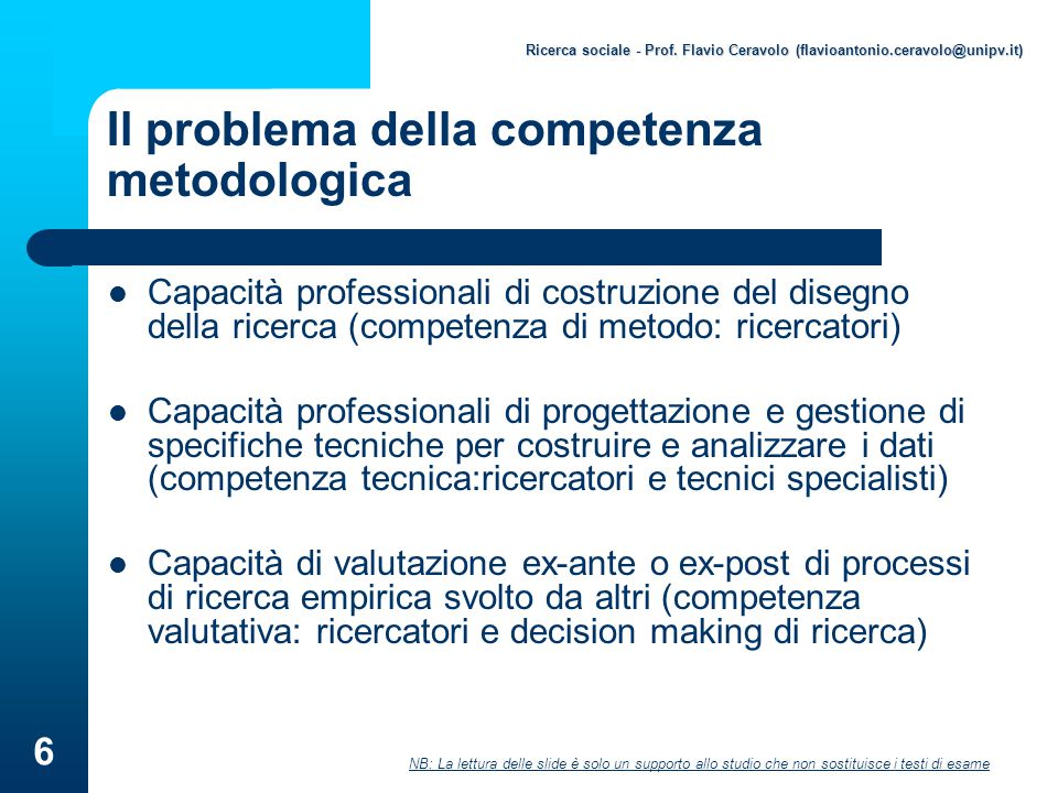 Il problema della competenza metodologica