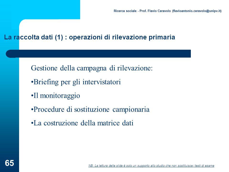 La raccolta dati (1) : operazioni di rilevazione primaria